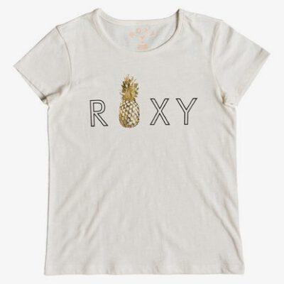 Camiseta ROXY niña manga corta Ref. ERGZT03391 wbto beige logo letras roxy piña