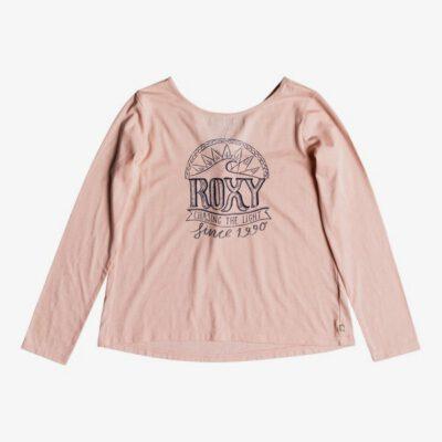 Camiseta ROXY niña manga larga Ref. ERGZT03333 MEKO Color rosa pastel logo grande pecho