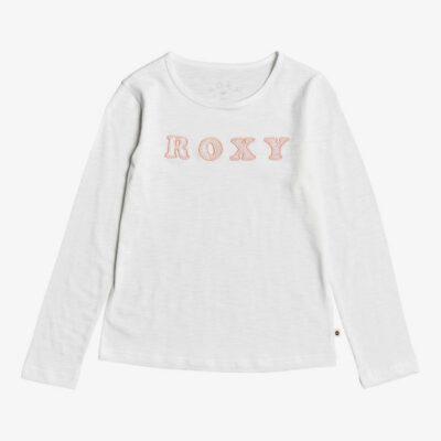 Camiseta ROXY niña manga larga Ref. ERGZT03457 Bananas Party Color WBKO beige letras rosa terciopelo