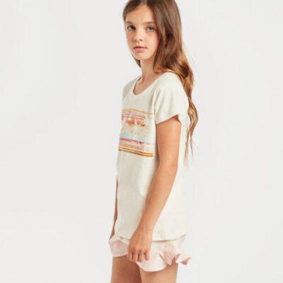 Camiseta billabong niña manga corta Ref. N8SS01 BIP9 Billie tee Color cool wip beige dibujo grande pecho