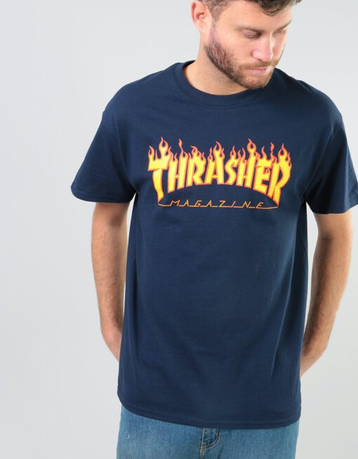 Camiseta Hombre Thrasher Flame logo manga corta Ref. 144781 azul marino Llama fuego amarilla y naranja Forest Green
