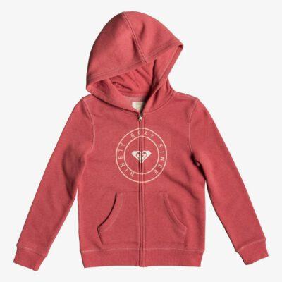 Sudadera ROXY niña con capucha y cremallera ref. ERGFT03310 color MMZO Rosa coral palo Logo grande en pecho