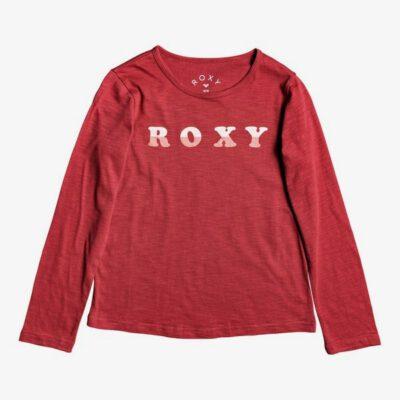 Camiseta ROXY niña manga larga Ref. ERGZT03457 Bananas Party Color RQHO rojo letras rosa terciopelo