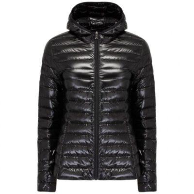 Chaqueta capucha Jott de plumas Mujer Noir 3921/999 CLOE LAQUEE BASIC Justoverthetop Color Negra lacada brillo
