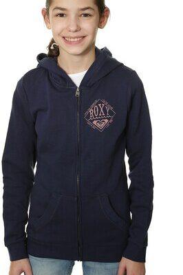Sudadera ROXY niña con capucha y cremallera Ref. ERGFT03113 Roxy Breezy Chill color azul marino logo rosa