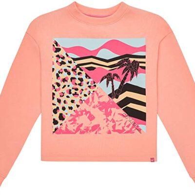 Sudadera O'NEILL niña cuello redondo Ref.9A6472 Tropical Sweatshirt Coral con estampado tropical pecho