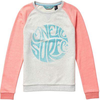 Sudadera O'NEILL niña cuello redondo Ref.8P6480 Kinder Mountan Chase Sweater Gris con logo turquesa y mangas rosas raglan