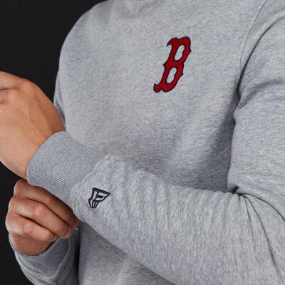 Sudadera NEW ERA Hombre Cuello redondo casual MLB Boston Red Sox Essiential Crew Gris Ref. 11604143 gris parche B en el pecho rojo