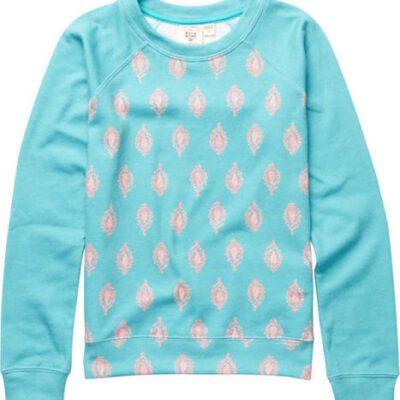 Sudadera BILLABONG niña cuello redondo Ref. C8CR02 Paying games Carribean azul turquesa con detalles rosa palo