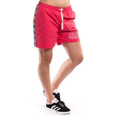 Pantalón bañador corto GRIMEY Running chico ROCK CREEK PARK UNISEX RUNNING SHORTS SS17 TEABERRY RED Ref. GRS103-TBR rojo bandas laterales logo