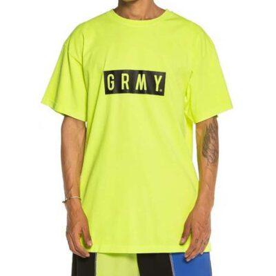 Camiseta GRIMEY manga corta unisex Flying Saucer Tee FW19 Fluor Yellow TEE Ref. GA540-FYLW amarilla con logo negro