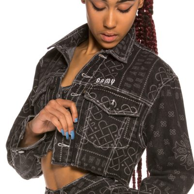 Chaqueta tejana Chica Grimey Carnitas Girl Crop Denim Jacket SS20 Black Ref. GGCDJ101-BLK negra con estampado blanco