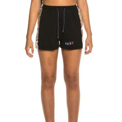 Pantalón corto Grimey Chica Fluid Planet girl short SS19 black Ref. GGCS113-BLK color negro con franja brillante