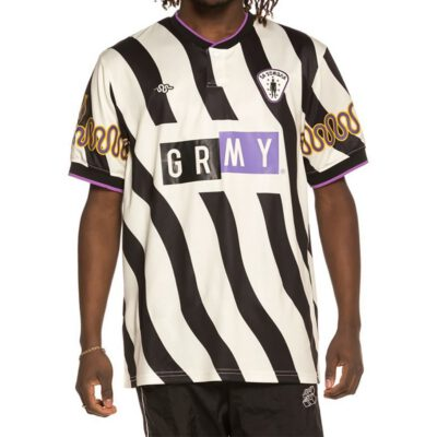 Camiseta Fútbol GRIMEY manga corta unisex La Sombra Unisex Soccer tee SS19 White Ref. GST106-U rayada blanca y negra