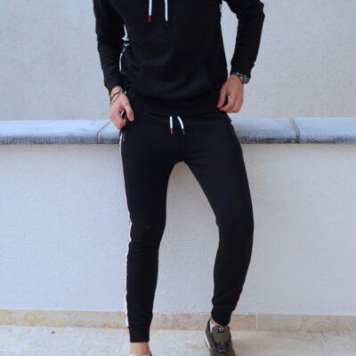 Pantalón chándal Jott Hombre 3940/999 Luis pantalon bande sport Justoverthetop negro con bandas logos piernas