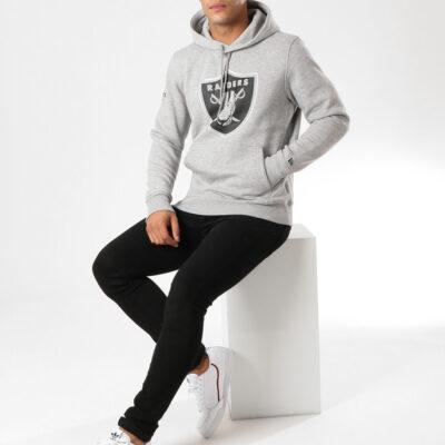 Sudadera NEW ERA Hombre con capucha cómoda Team Apparel NFL Oakland Raiders Ref. 11788949 gris parche en el pecho