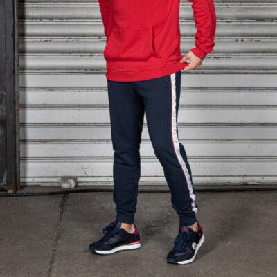 Pantalón chándal Jott Hombre 3940/104 Luis pantalon bande sport Justoverthetop Azul marino con bandas logos piernas
