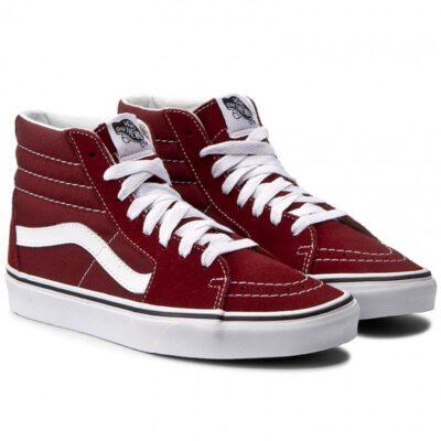 Zapatillas altas VANS Sneakers deporte hombre Sk8-Hi Madder Brown/True White Mod. VN0A38GEOVK granate con franjas blancas