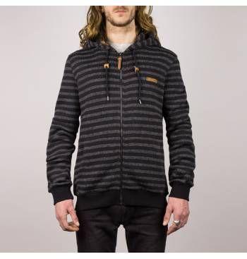 Chaqueta punto HYDROPONIC hombre caliente con capucha UPTOWN KN Black/Grey Ref. 17536 Negra/gris