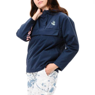 Chaqueta SANTA CRUZ Mujer con capucha Screaming Hand Pop Over Ref. SCA-WJA-0280 azul con logo rosa palo