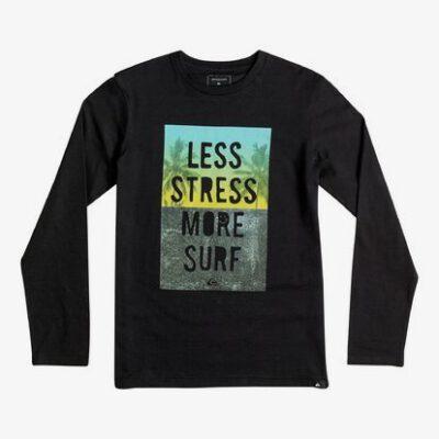 Camiseta manga larga niño Quiksilver Classic LESS STRESS MORE SURF Ref. EQBZT03363 kvjo negra dibujo en pecho