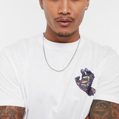 Camiseta SANTA CRUZ Chico manga corta Bio Hand T-Shirt Ref. SCA-TEE-5592 Negra con logo pecho mano/puño