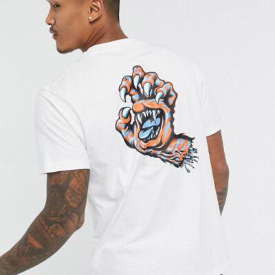 Camiseta SANTA CRUZ Chico manga corta Salba Tiger Hand T-Shirt Ref. SCA-TEE-5355 Blanca con logo pecho y espalda mano uñas
