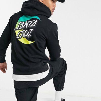 Sudadera Santa Cruz hombre suave con capucha casual básica MOON DOT FADE Ref. SCA-HDY-4647 negra luna