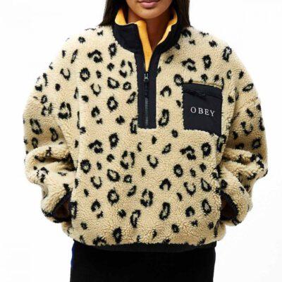 Chaqueta polar OBEY chica Chiller Anorak Jacket Ref. 221800298 beig y negra Animal print leopardo