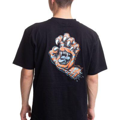 Camiseta SANTA CRUZ Chico manga corta Salba Tiger Hand T-Shirt Ref. SCA-TEE-5345 Negra con logo pecho y espalda mano uñas