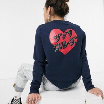 Sudadera SANTA CRUZ Mujer cuello redondo Japanese heart crew Ref. SCA-WCR-0272 Azul logo corazón letras japonesas