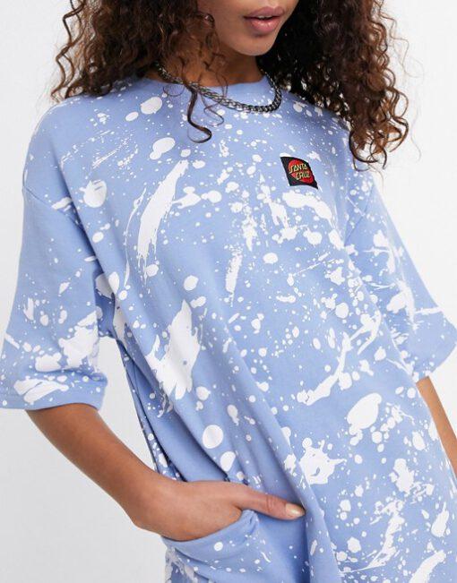 Vestido SANTA CRUZ Mujer cuello redondo Kit Dress Ref. SCA-WDR-03041 Azul claro con salpicaduras blancas