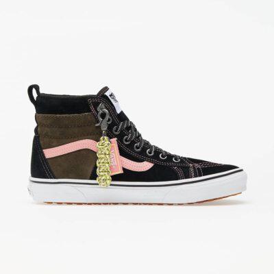 Zapatillas altas VANS Sneakers Skate ante chica SK8-HI 46 MTE DX Modelo: VN0A3DQ52UE negra y marrón con franjas rosa palo