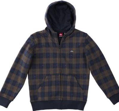 Sudadera Exterior Quiksilver con capucha interior borrego niño Hood Zip DNA Boy's Sweatshirt Ref.KPBSW933 azul y marrón cuadros