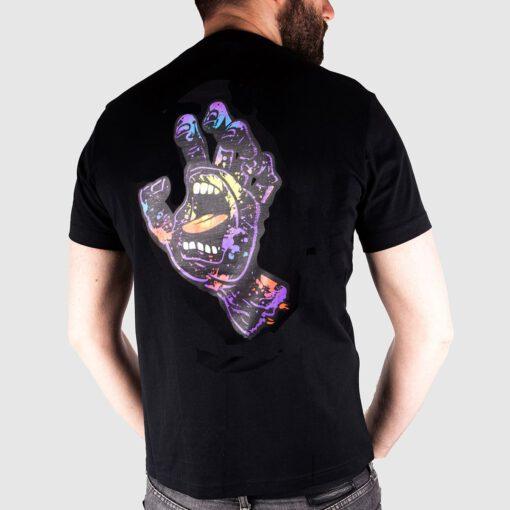 Camiseta SANTA CRUZ Chico manga corta Hand Splatter T-Shirt Ref. SCA-TEE-5280 Negra con logo pecho y espalda mano/puño