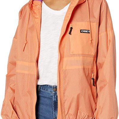 Chaqueta chubasquero OBEY chica Riverbed Jacket melón multi Ref. 221800311 naranja salmón