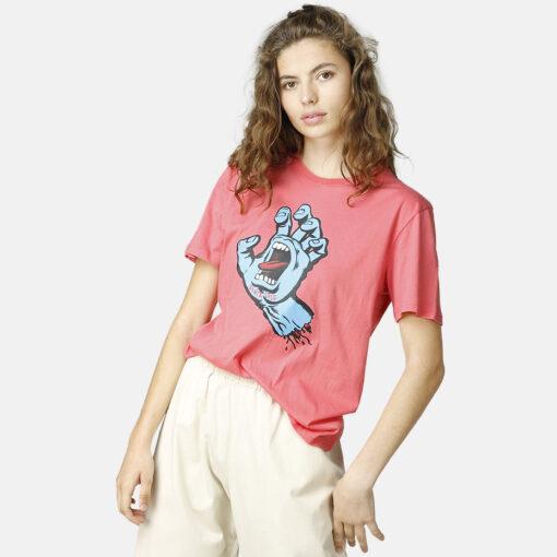 Camiseta SANTA CRUZ Chica manga corta Screaming hand t-shirt pink lemonade Ref. SCA-WTE-0413 Rosa chicle con logo pecho mano