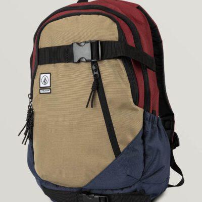 Mochila VOLCOM Backpack DE SUSTRATO CABERNET 26L grande con bolsillo ordenador Ref. D6531649 SKATEPACK Granate azul y beig