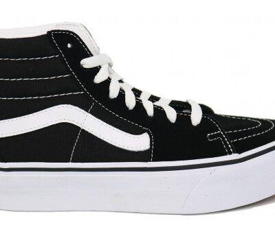 Zapatillas altas plataforma VANS SK8-HI 2 PLATFORM black/True white Ref. VN0A3TKN6BT1 negra y franja blanca