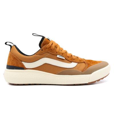 Zapatillas VANS cómodas Sneakers deporte hombre ULTRARANGE EXO SE Pumpkin Spice/Antique White Modelo: VN0A4UWM25T camel con franjas blancas