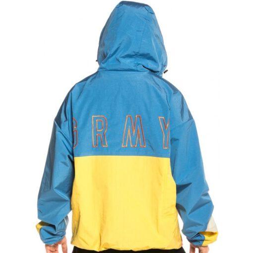 Cortavientos GRIMEY Chubasquero capucha unisex Steez Raincoat FW20 Bluelack Ref. GANK132-FW20-BLU azul y amarillo