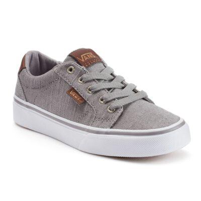Zapatillas VANS Skate Niño Bishop (Textile) Gray/Potting Soil Mod. VN000NLWHWU Gris clara detalles piel