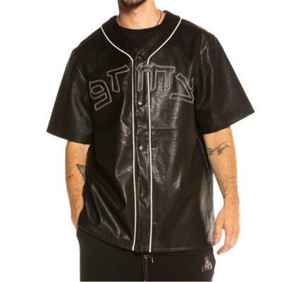 Camiseta beisbol GRIMEY manga corta unisex Call Of Yore Pu Leather Baseball black Ref. GBSH114-BLK piel sintética negra