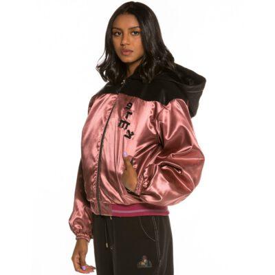 Chaqueta con capucha acolchada Bomber Chica Grimey Call of Yore FW20 Negro Ref. GGHJ111-FW20-BLK negra/rosa palo