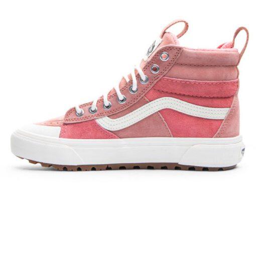 Zapatillas altas VANS Skate ante chica SK8-HI MTE 2.0 DX (Mte) Pink Block/Marshmallow Modelo: VN0A4P3I2UU cuero rosa palo franjas blancas