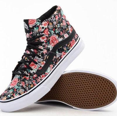 """Zapatillas altas VANS Skate número uno del mundo chica Sk8-Hi Slim """"Multi Floral"""" Ref. VN-0 XH7DL4 flores colores"""