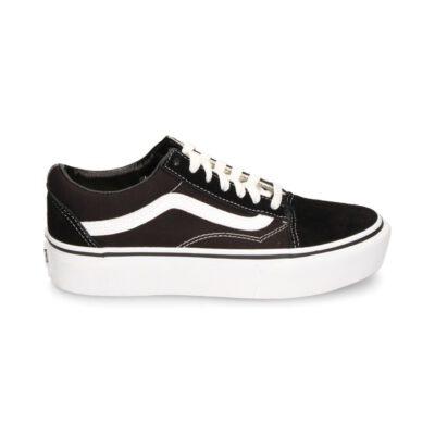 Zapatillas plataforma VANS Ward Sneaker Old Skool Platfor black Ref. VN0A3B3UY281 negra y franja blanca