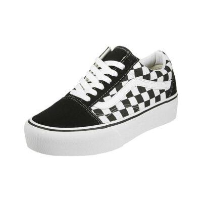 Zapatillas plataforma VANS Ward Sneaker Old Skool Platform black white Ref. VN0A3B3UHRK1 cuadros negra y franja blanca