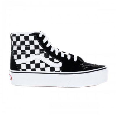 Zapatillas altas plataforma VANS SK8-HI 2.0 CON PLATFORM black white Ref. VN0A3TKNQXH cuadros negra y franja blanca