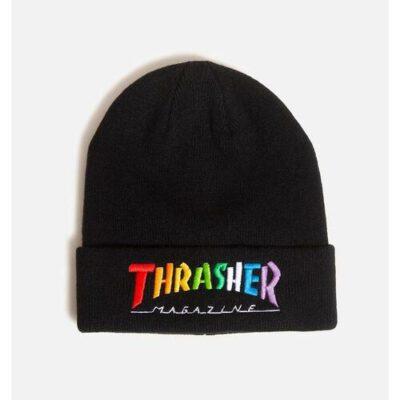 Gorro THRASHER Rainbow Mag Lana virgen Unisex Ref. 144842 Negro logo multicolor